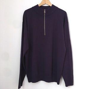 Vintage 1980's Bogner Men's 1/2 Zip Sweater Purple